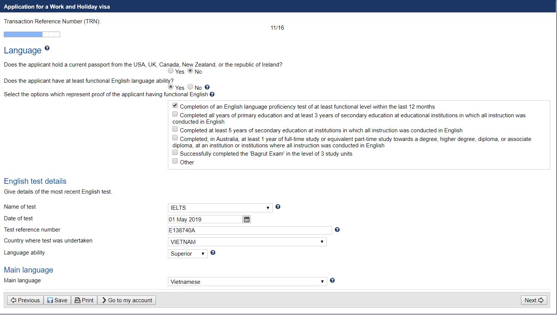 Hướng dẫn điền đơn xin visa Work and Holiday 462 online